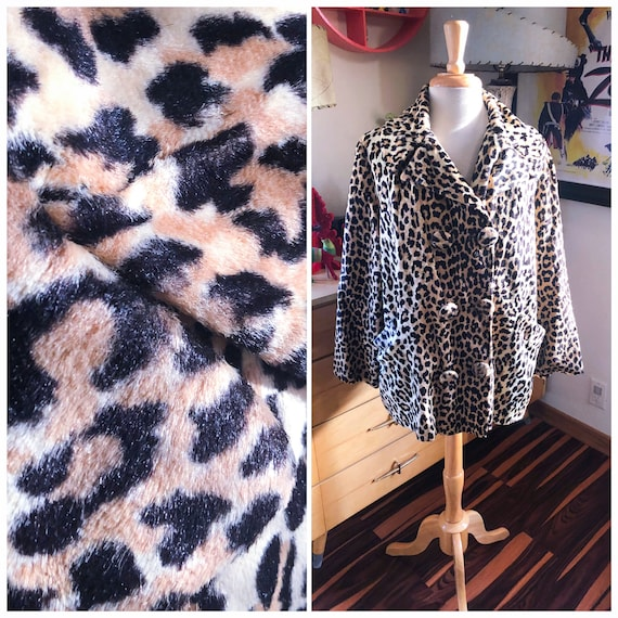 1950s Leopard Coat / 50s faux fur leopard jacket