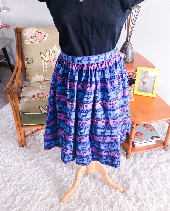 1950s Skirt /50s skirt abstract novelty print