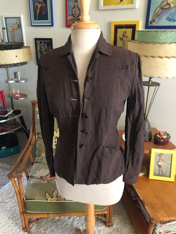 1940s Blazer Suit Jacket / 40s brown jacket