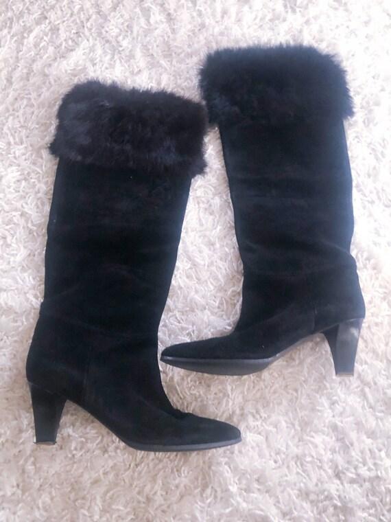 1980s boots / 80s Yves Saint Laurent knee boots