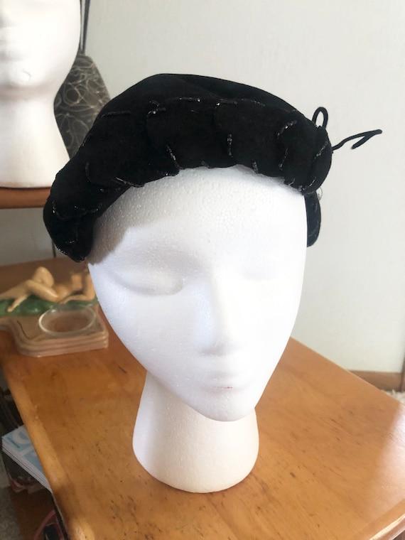 1950s Hat Lot / 50s striped pillbox / 50s black p… - image 9