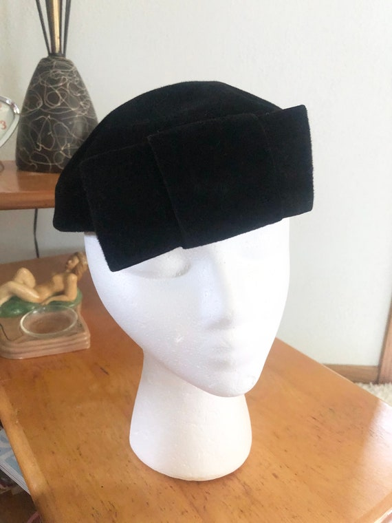 1950s Hat Lot / 50s striped pillbox / 50s black p… - image 7