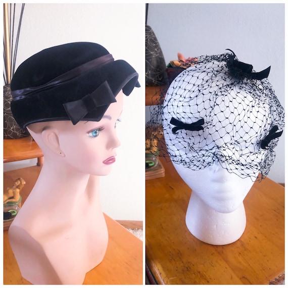 1950s Hat Lot / 50s velvet hat / 1950s fascinator - image 1