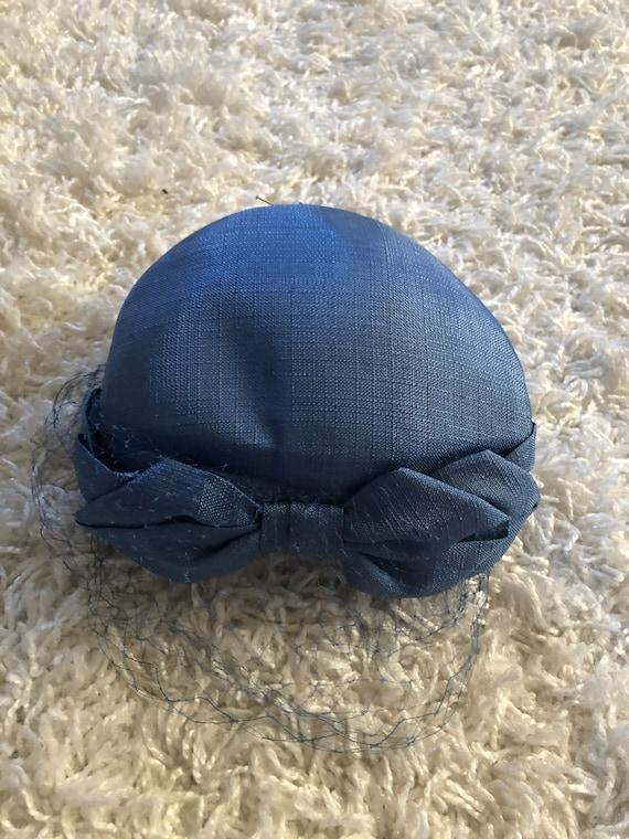 1950s Hat / 50s periwinkle blue bow hat - image 6
