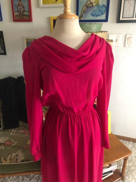1940s style Dress  / 40s style fuschia pink dress… - image 3