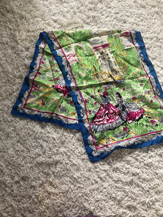 1940s Silk Scarf / 40s novelty Figural print scarf - image 5