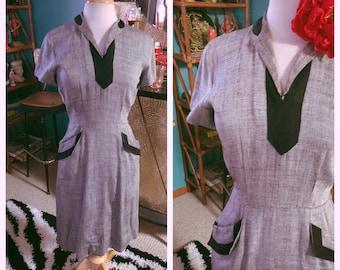 Vintage 1950s Dress gray black print S M rockabilly wiggle pencil pinup 50s