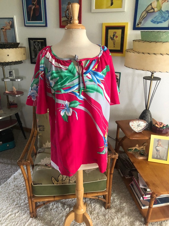 1940s style Blouse  / 40s style floral top / Hawa… - image 2