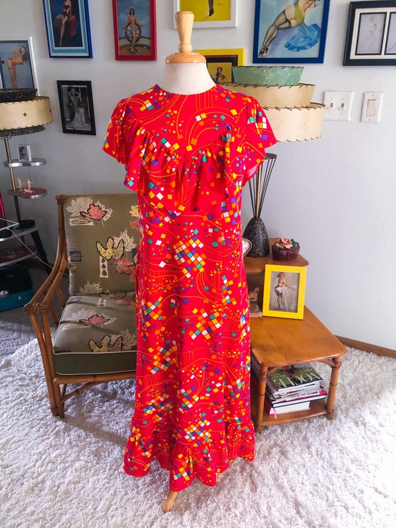 1930s style print Dress  / 30s style abstract nov… - image 1