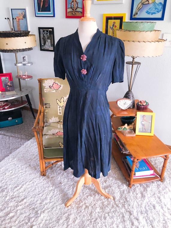 1940s Dress / 40s Rayon Dress / dyed floral dress