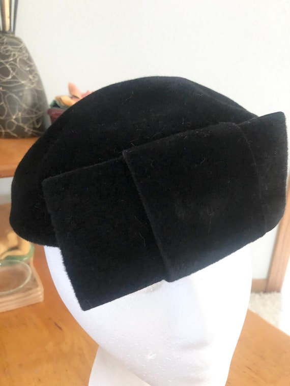 1950s Hat Lot / 50s striped pillbox / 50s black p… - image 8
