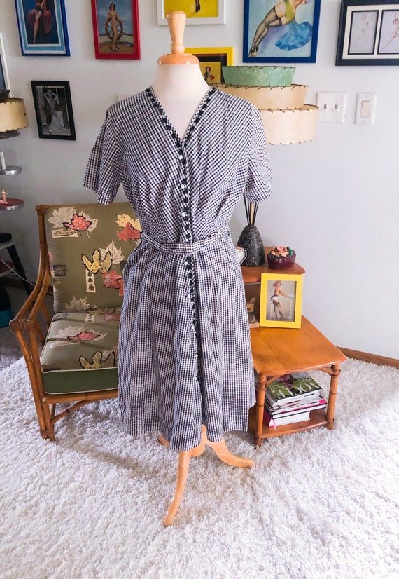 1940s Dress / 40s Check Dress / day dress