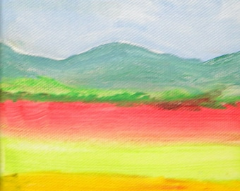Colorful fields small acrylic on canvas painting