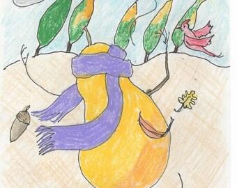 Fall Pear Dancing in Wind small surreal print