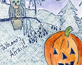 Original ink drawing Halloween Pumpkin greeting card