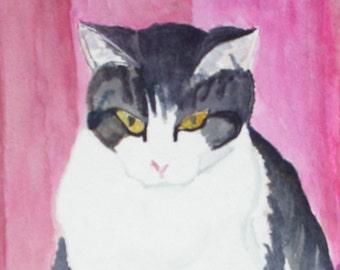 Cat on the Carpet Original Watercolor