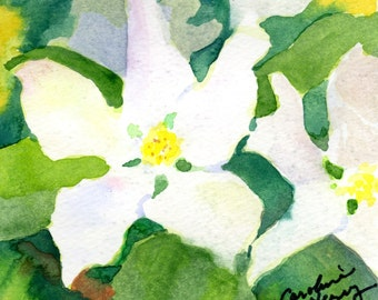 Apple Blossom Watercolor Painting