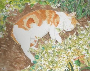 Original Watercolor Garden Cat