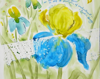 Irises and Old Lace Original Watercolor