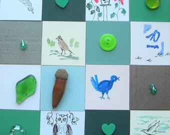 Birds, a Mat Board Patchwork, Mixed Media