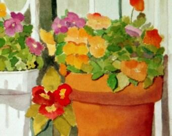 Debbie's Flower Pots Watercolor Original
