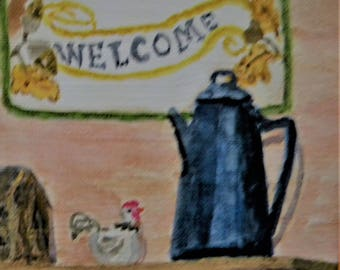 Welcome watercolor on canvas board small painting