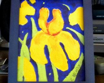 Stylized Iris Acrylic Original Small Painting