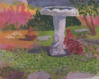 Birdbath in the Garden Watercolor Painting