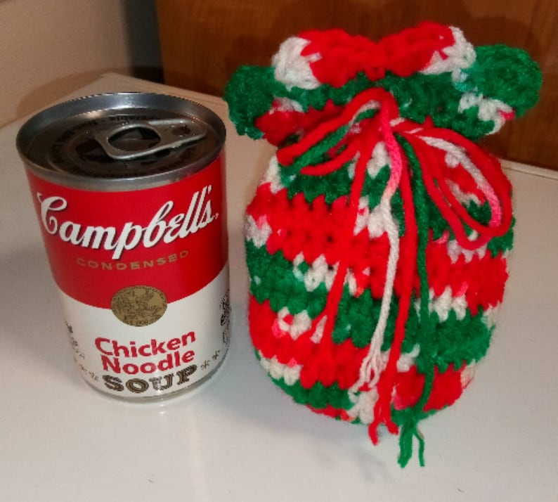 Drawstring Pouch Crocheted in Christmas Colors Red White and Green for Holding Small Gifts or Candy