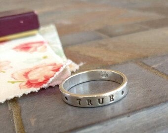 True Love Waits Sterling Silver Ring Size 10 Ring Promise Ring Mens Ring Large Round Ring Purity Ring BSD Sterling