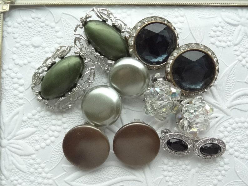 Earring Jewelry Lot Craft Supplies Single Earrings Rhinestone Flower Clip On Lot Earring Blue Rhinestone Green Silver Cluster D72