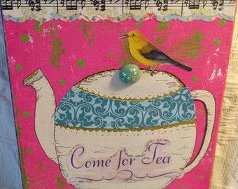 L'heure du thé collage technique mixte, peinture, originale, art de la tasse de thé, matériaux d'époque