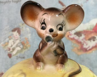 RARE Vintage Antique Mouse and Daisy Flowers Sugar Bowl Collectible or Bank or Jewelry Holder or Paperclip Holder or Candy Jar