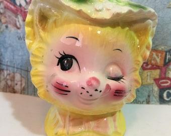 Vintage Flirtatious Winking Playful Kitty Cat Kitten Wearing a Bonnet Hat Toothpick Holder or Antique Collectible Planter