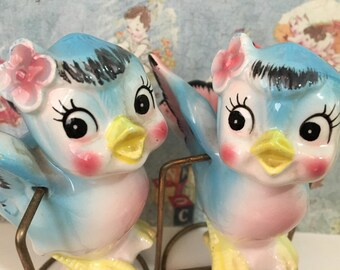 FREE SHIPPING Very RARE Vintage Antique Bluebirds On A Metal Swing Stand Salt and Pepper Shakers Collectibles or Wedding Cake Toppers