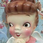 FREE Worldwide Shipping Very RARE Rockabilly Pinup Retro Praying Angel Planter or Vase Wall Pocket Hanging PY Collectible