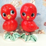 VERY RARE Vintage Cardinal Birds Sitting On Holly Branches Salt and Pepper Shakers Antique Collectibles or Cake Toppers