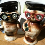Vintage Lefton Teacher's Gift Wise Owl Graduates Scholars Salt and Pepper Shakers Antique Lusterware Collectibles or Cake Toppers