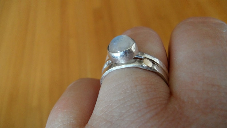 Little Gold Dot on a Thin Sterling Band made to order sizes 4 to 12