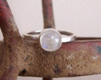 Sterling Silver Rainbow Moonstone Ring - Custom order - sizes 4 to 12