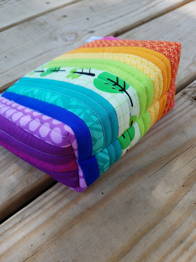 Rainbow Quilted Zipper Bag Knitting Project Bag or Makeup Bag Medium Size