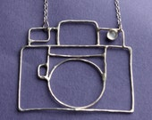 Sterling Silver Camera Necklace with Moonstone