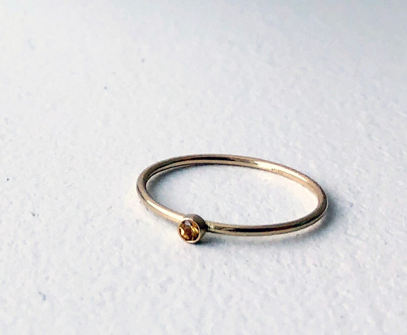 Tiny 2mm yellow sapphire 14k yellow gold single solitaire ring birthstone ring september