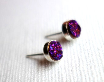 Tiny Purple Drusy Studs in Sterling Silver Settings