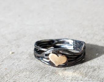 Sterling Silver Nest Heart Ring with 14k Gold Filled Heart Handmade By Rachel Pfeffer