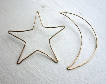 Oversized Moon and Star Mismatched Stud Earrings in 14k gold fill Outlines