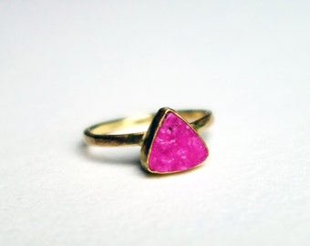 14k Gold and Sterling Silver Hot Pink Cobalto Calcite Druzy Ring- Handmade by Rachel Pfeffer