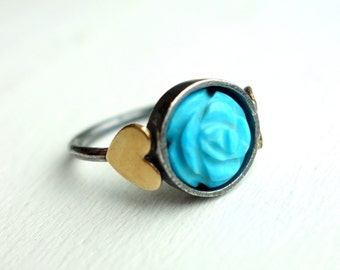 Turquoise Flower Ring with Hearts