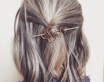 Hair Clip Bun Pin Mini Honeycomb Brass Handmade Hair Bun Slide Pin // hair clip // hair barrette // pony tail holder bridesmaid hair bridal