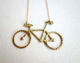 Original Rachel Pfeffer Brass Bike Necklace on 16 Gold Filled Chain